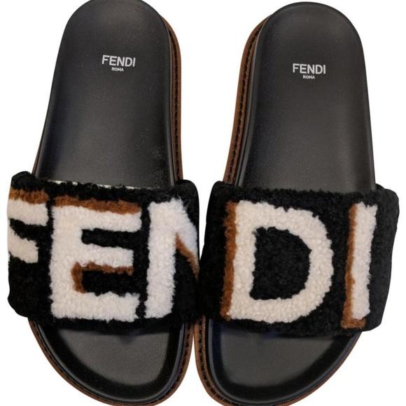 d097a76eacb Fendi Black White Shearling Fur Ff Logo Mule Slide NWT
